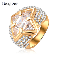 Beagloer Ring Luxury Women Finger Ring Gold Color Clear Austrian Crystal Prom Ring Ri-HQ0319