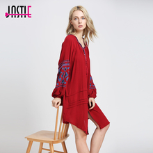 Jastie Vintage Embroidery Boho Dress Oversize Women Dresses Lantern Sleeve Loose Beach Mini Dress Chic Casual Feminino Vestidos