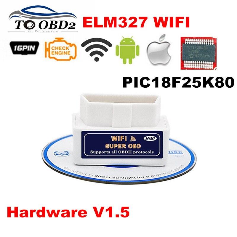 Prix pour Super OBD2 Scanner ELM327 WIFI Matériel V1.5 Supporte Android/iOS/Windows 3PCB Conseil Avec PIC18F25K80 ELM 327 Wi-Fi meilleur Vente