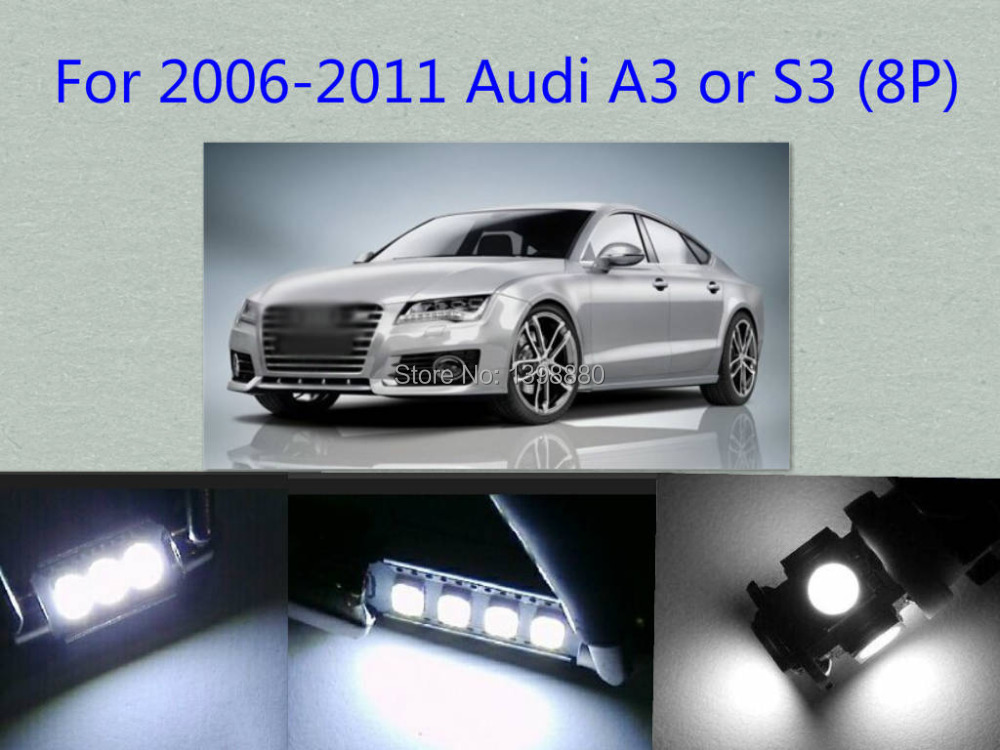 Error Free Canbus 11PCS White LED Interior Package kit For  AUDI 2006-2011  A3 or S3 (8P)  Map Dome  Cargo  Tag Lights free shipping 60 17x a4 s4 b5 1998 2001 white led lights interior package kit canbus