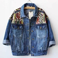 2016 Womens Jeans Jacket Autumn Loose Geometrical Patchwork Designs Denim Jackets Outerwear Female HARAJUKU Long-sleeve Top Coat