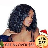 Короткие Синтетические волосы на кружеве натуральные волосы боб парики для Для женщин бразильский бесклеевого полный черный с волосами мл
