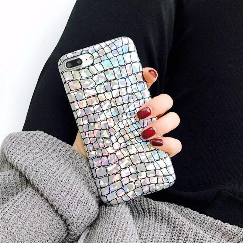 Banjolu Mode Kühlen Holographische Magische Farbe Crocodile Alligator Weiche Rückseitige Abdeckung für iPhone X 8 7 6 6 s Plus Stilvolle Telefon Fall