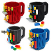 Free Shipping 1Piece Build On Brick Mug Lego Type Building Blocks Coffee Cup DIY Block Puzzle