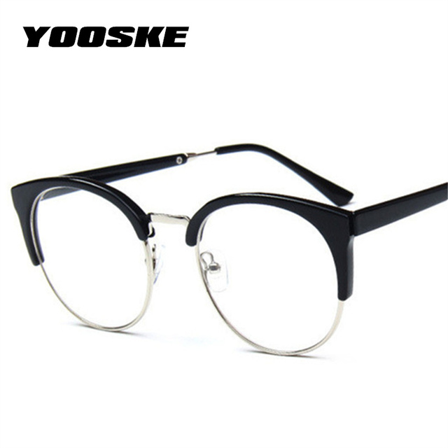 746efd1131 US $3.0 40% di SCONTO|YOOSKE Donne Retro Occhiali Montature Per Occhiali  Ottica Trasparente Miope Montatura Per Occhiali Semicerchio Occhiali Da  Vista ...