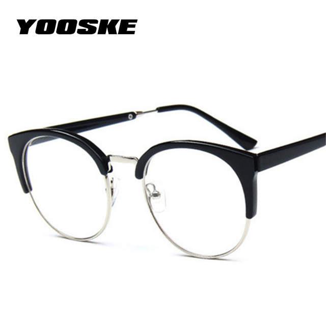 15ccd019d616f YOOSKE Mulheres Retro Óculos Míopes Armações de Óculos Óptica Transparente  Semicírculo Espetáculo Armação De Óculos Vintage