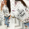 2016 Fashion Women Hoodie Jumper Sweater Long Sleeve Floral Hooded Pullover Top Print Sweatshirt T-Shirt