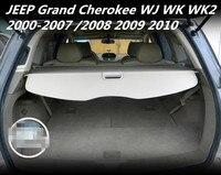JIOYNG Car Rear Trunk Security Shield Shade Cargo Cover For JEEP Grand Cherokee WJ WK WK2 2000 2007/2008 2009 2010(Black beige)