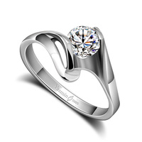 Fashion Solid Genuine 925 Sterling Silver CZ Zircon Women Ring