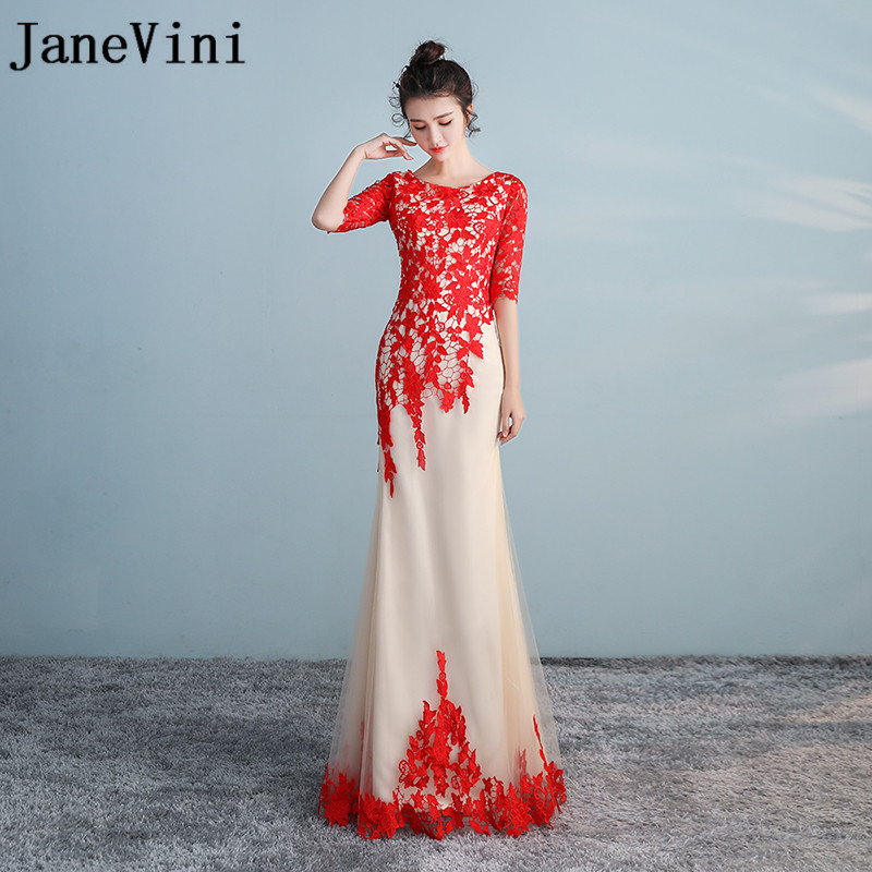 JaneVini Vestido Boda Invitada Mermaid   Bridesmaid     Dresses   With Red Lace Champagne Tulle Half Sleeves Long Wedding Party   Dress