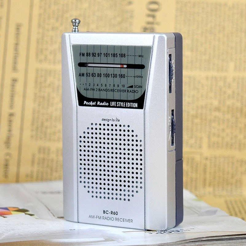Mini Portable Radio Receiver R60 với Dual Band FM/AM Đài Pocket Radio với Built-In Loa Chất Lượng Cao