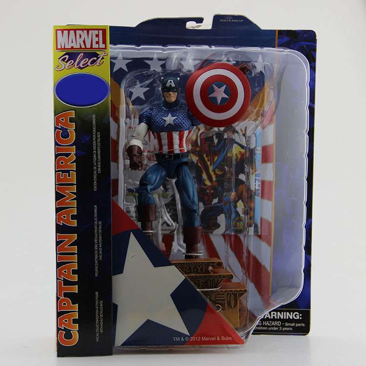 Free Shipping Marvel Select Super Hero The Avengers Captain America PVC Action Figure Collection Model Toy 7 18cm #SPM004