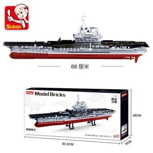 Image 3 - ship Carrier military submarine sets boat Battleship warship model Building kits Blocks bricks kid toys