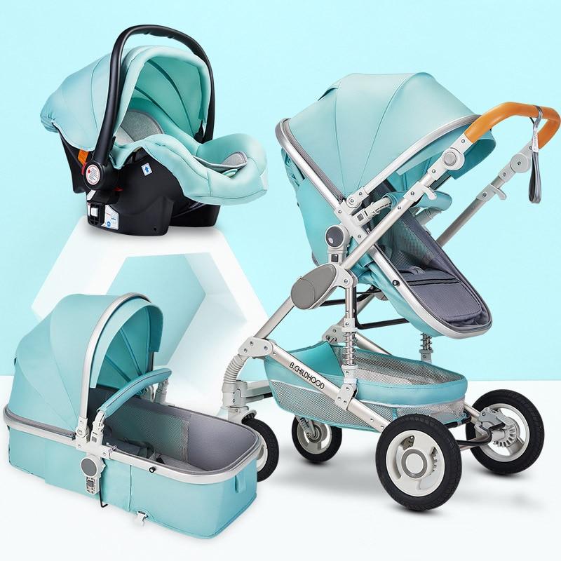 Multifonctionnel 3 en 1 bébé poussette haute paysage poussette pliante chariot or bébé poussette nouveau-né poussette - 2