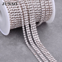 JUNAO 1 2 3 Rows 1Yard SS12 Clear Crystal Chain Rhinestones Trim Glass Stones Banding Jewelry Applique for Clothes Decor Crafts