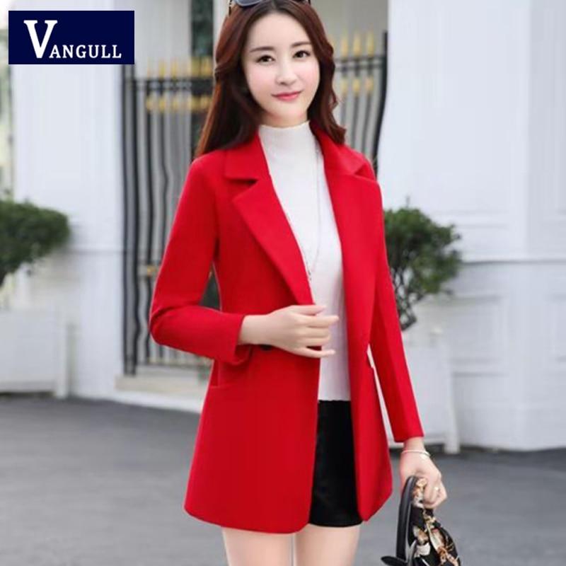 2019 Autumn Winter Fashion New Women Wool Short Coats Female Slim Korean Long Sleeve Temperament Single Breasted   Basic     Jackets