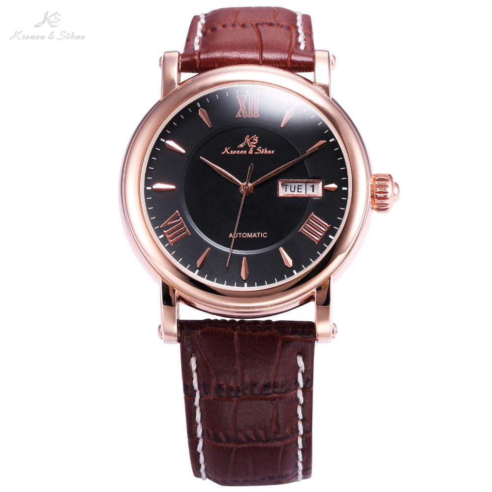 KS Business Classic Dress Male Clock Leather Band Roman Relogio Auto Self Wind Date Day Waterproof