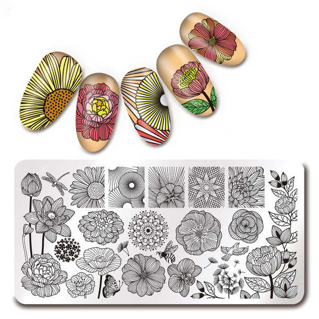 Nail Art Rectangle Stamping Template Love Valentine's Day Line Flower Butterfly Manicure Image Plate DIY Nail Painting