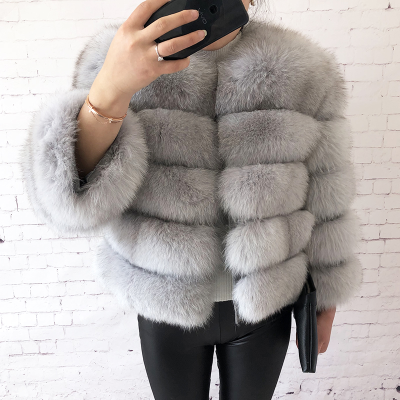2019 new style real fur coat 100% natural fur jacket female winter warm leather fox fur coat high quality fur vest Free shipping 105