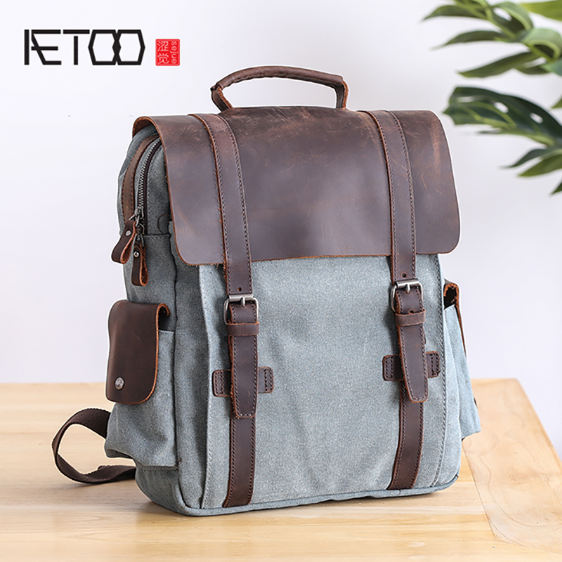 AETOO Double Shoulder Bag male college wind student schoolbag large capacity casual canvas with leather shoulder backpackAETOO Double Shoulder Bag male college wind student schoolbag large capacity casual canvas with leather shoulder backpack