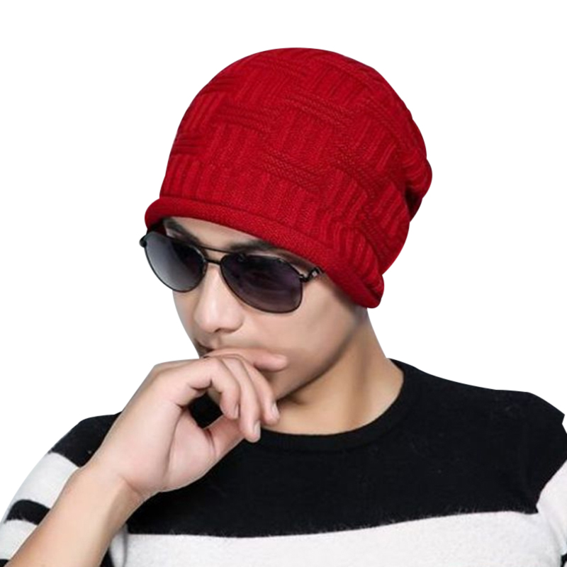 2017 Winter Warm Knit Hat Men Solid Casual Cap Beanies Mens Outdoor Skullies Ski Hat Male Free Shipping 6 Colors Sombrero F3 free shipping 2016 new 1pcs wholesale diamond grid stripe knit cap man and a woman in winter warm hat 100% quality assurance