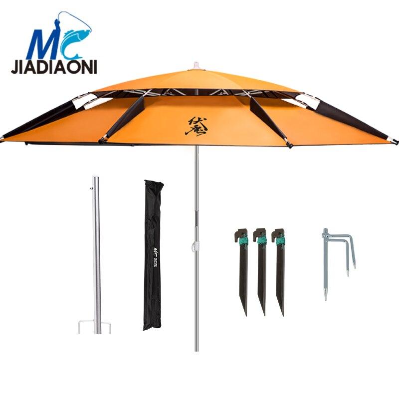 JIADIAONI 2 m Noir Tissu En Caoutchouc Extérieur Double pont Réglable résistant Aux Ultraviolets Soleil Parapluie Grand Parapluie de Pêche Accessoires