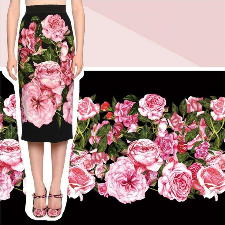 polyester soft linen dress fabric,rose flowers print thick linen fabric, mother kids dre ...