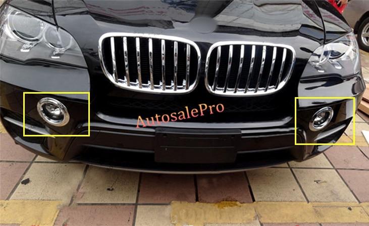 For BMW X5 E70 2011 - 2013 ABS Chrome Front+Rear Fog Lamp Light Frame Cover Trim Bright