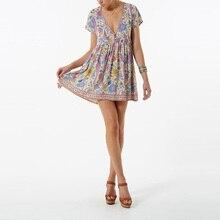 Boho Vintage Floral Print Mini Dress