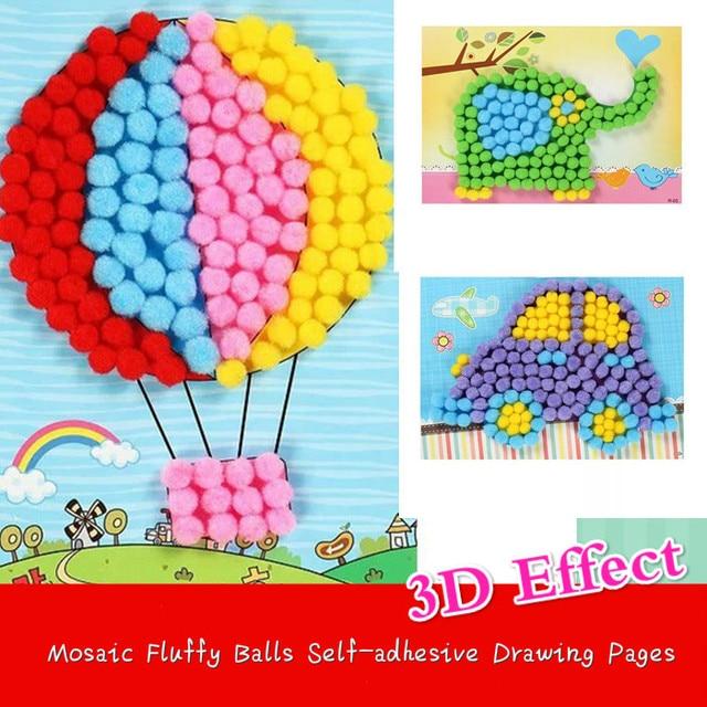 8pcs 3d Mosaic Fluffy Balls Sticker Self Adhesive Drawing Kids