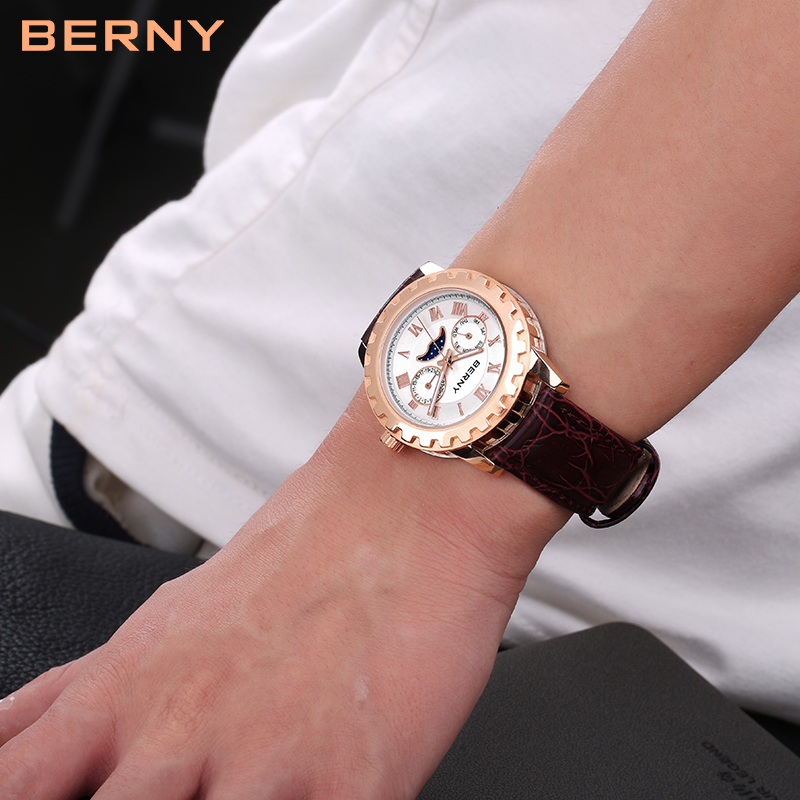Berny Men Saat Kvars Mens Saatları Moda Ən Lüks Brend Relogio Saat - Kişi saatları - Fotoqrafiya 4