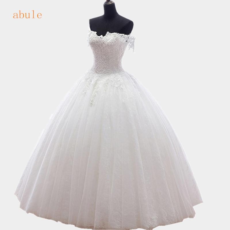 2016 new arrival White lace lace up Princess Wedding Dress Good quality wedding gowns Designer real poto vestido de noiva