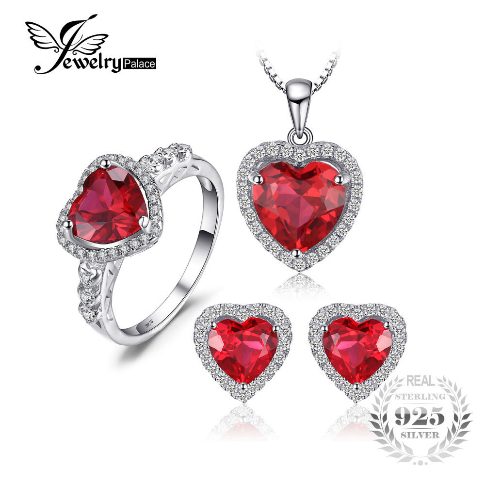 66a529ea2068f9 JewelryPalace Heart of Sea Love Created Ruby Ring Stud Earings Pendant  Necklace 925 Sterling Silver Jewelry Sets Fine Jewelry