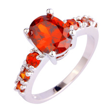 Art Deco Oval Cut Rose Red Cubic Ziconia Silver Color Ring Size 6 7 8 9 10 New Fashion Wedding Jewelry Gift Women Prom  Trendy