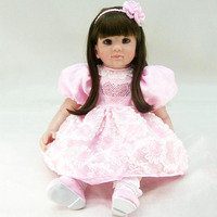 Alive Reborn Dolls High Quality Silicone Cotton Lifelike Vinyl 60cm House Toys With Pink Love Image Dress Bedtime Accompany Doll
