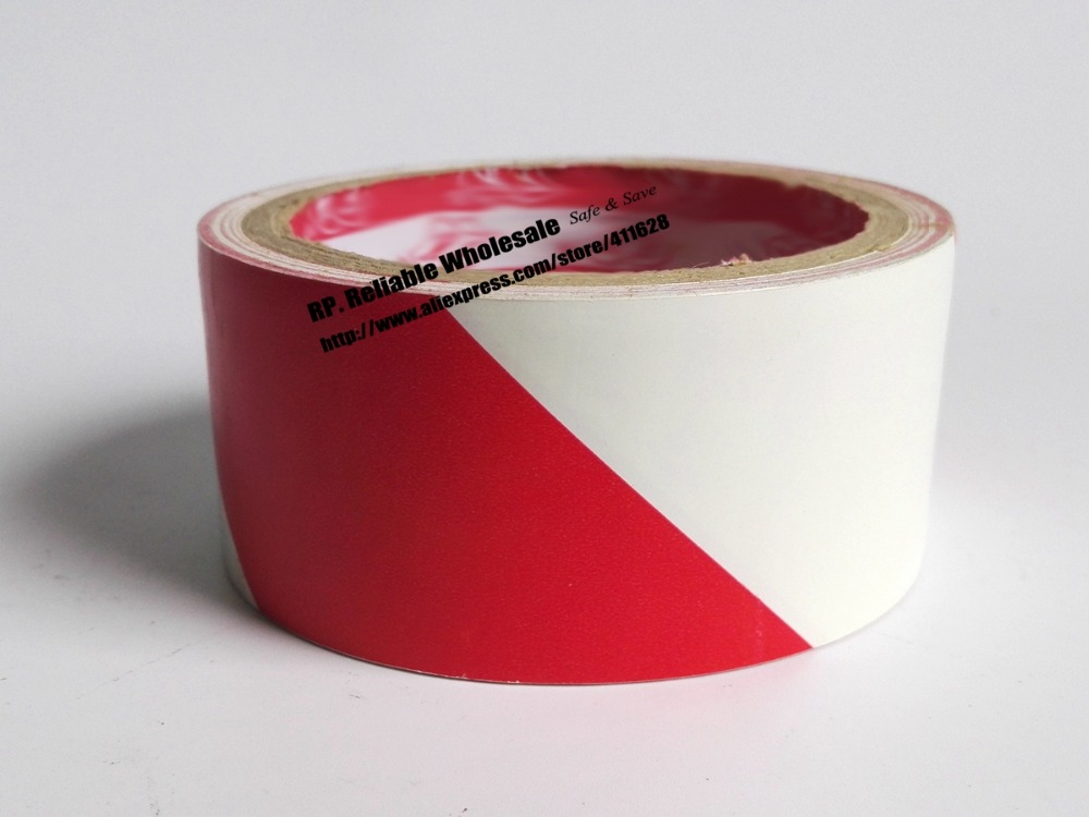 1x 45mm*18 meters  Adhesive Floor Warning Tape /Work Area Caution Tape / Ground Attention Tape Abrasion-Proof Red/White