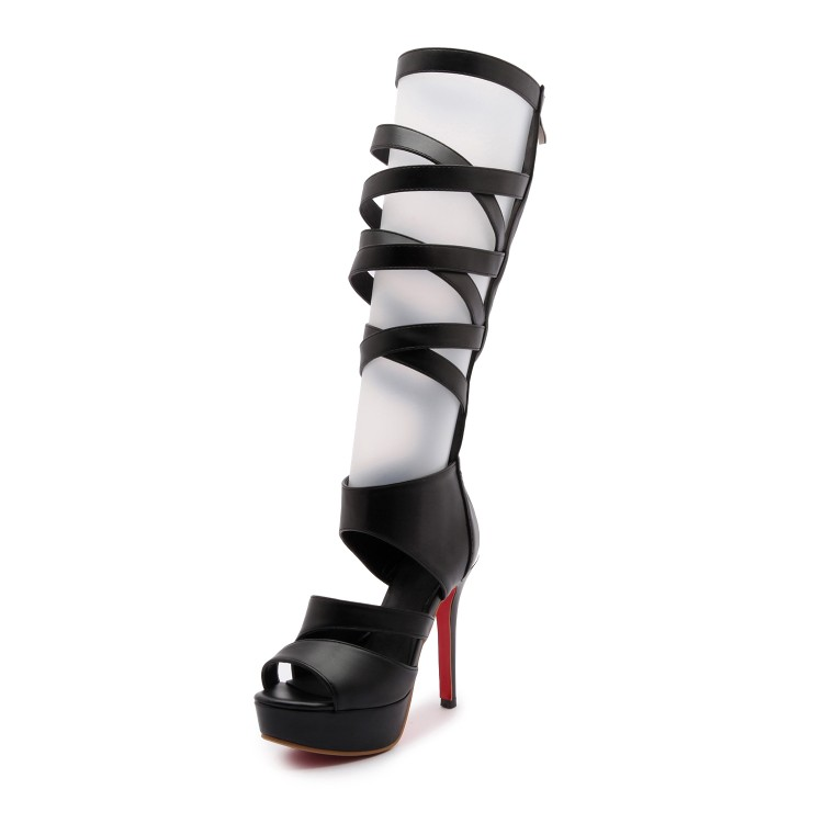 2017 Rome band long barrel cool boots high heeled sandals and sexy fine with high female summer waterproof oversized shoes 2017 european summer with rome female high heeled sandals a cross strap fish mouth sexy toe lacing shoes fine with large yards