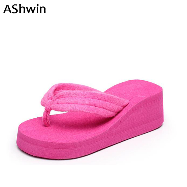 AShwin hot women slippers summer wedge jelly sandals flip flops platform  thong slipper beach shoes home