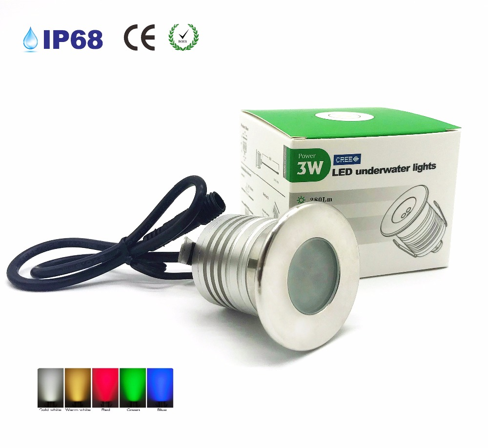 3W LED Pool Light Underwater Lamp IP68 Waterproof Light For Swimming Pool DC12-24V Safet ...