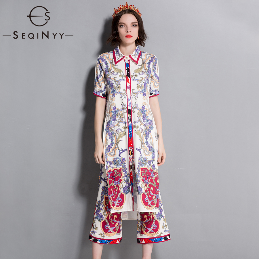 SEQINYY Long Retro Set 2018 Summer Elegant Fashion Split Loose Top + Vintage Flower Print Midi Pants Runway Women
