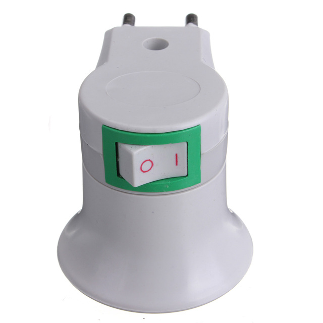 Lamp Base E27 LED Light Male Socket to EU Type Plug Adapter Converter for Bulb Lamp Holder With ON/OFF Button