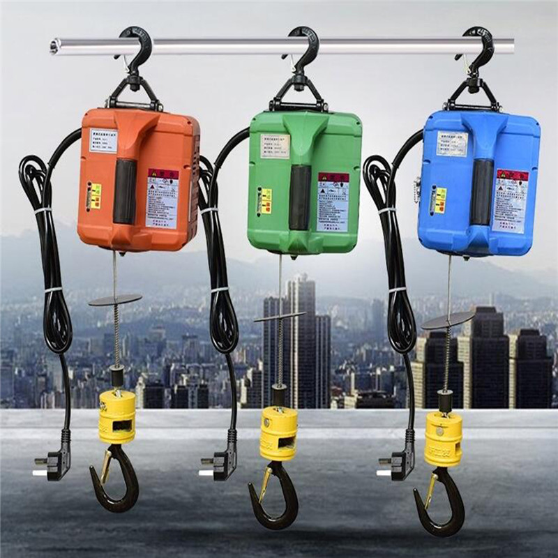 200KG Portable Electric Winch Hand Winch Traction Block Electric Steel Wire Rope Lifting Hoist Towing Rope
