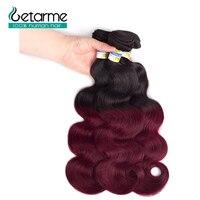 Pre colored 3 Bundles Ombre Brazilian Body Wave Hair Burgundy Bundles T1B/99J Red Color Non Remy Human Hair Weave Bundles