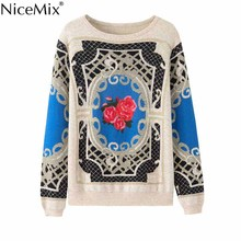 NiceMix Vintage Loose Pullover Sweater 2017 Knitted Women Boho Sweaters Casual Elegant Pullovers Female