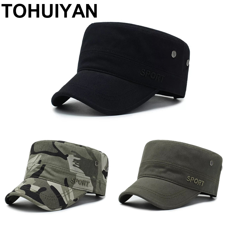 TOHUIYAN Men Women Military Style Cadet Army Cap Solid Color Washed Cotton Flat Top Caps Spring Summer Outdoor Unisex Visor Hats