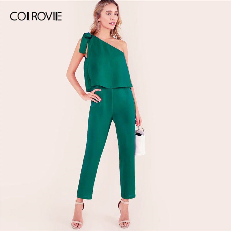 COLROVIE Green Tied One Shoulder Ruffle Embellished Asymmetrical Elegant Jumpsuits For Women Summer Sleeveless Sexy Jumpsuit