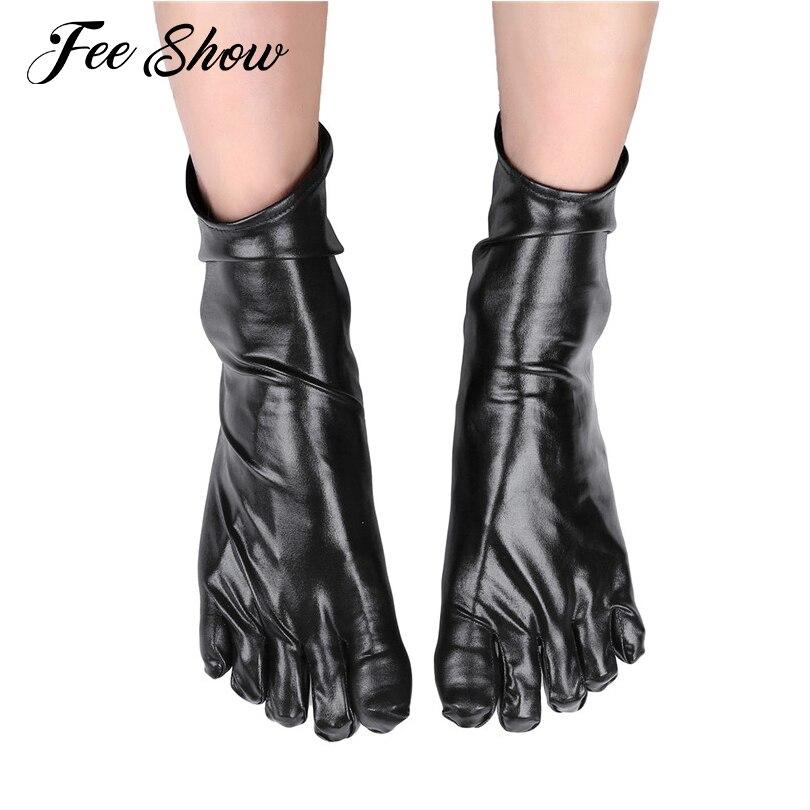 1 Pair New Unisex Wetlook Patent Leather Short Toe Socks Costumes Accessories Shiny Metallic Latex Rubber Club Short Ankle Socks