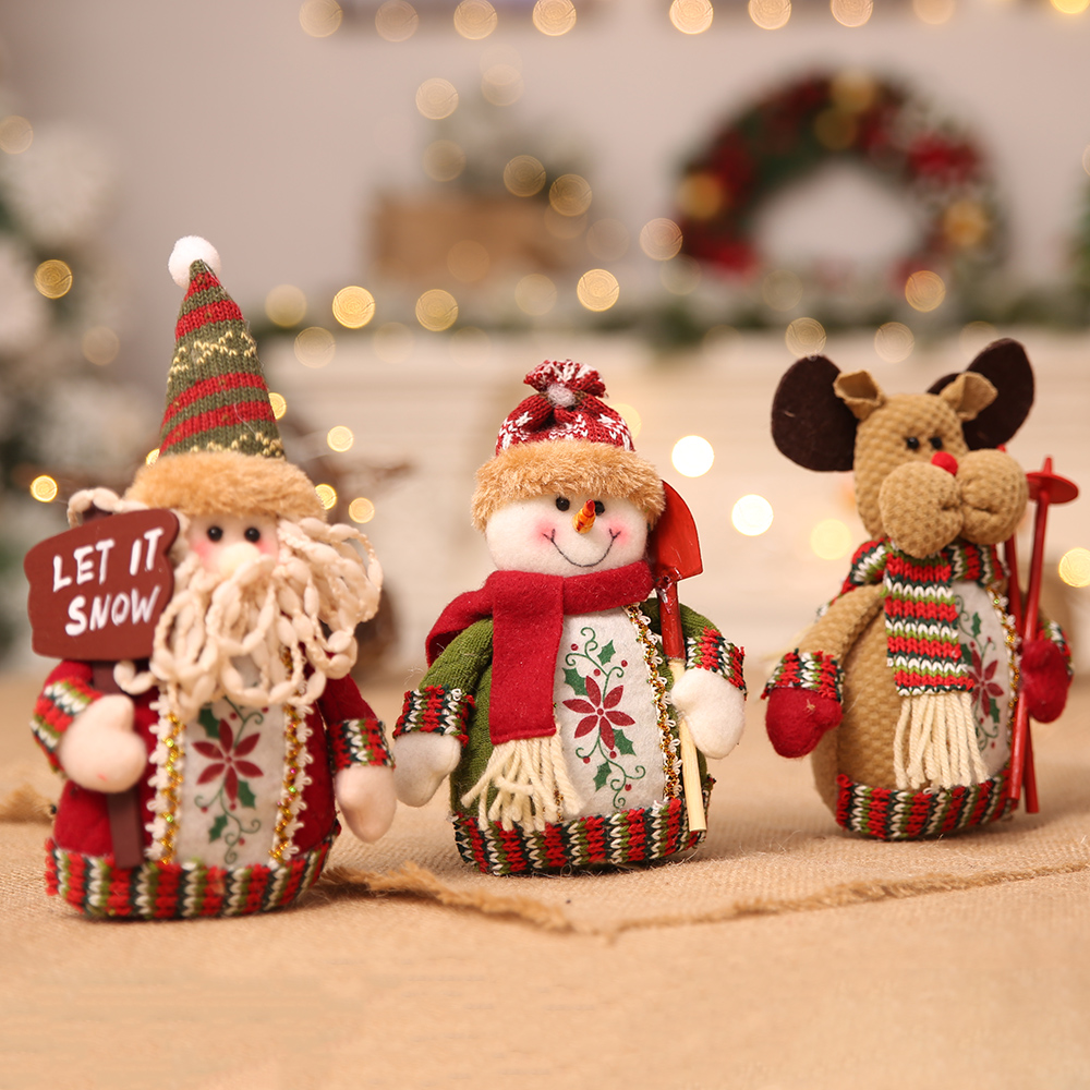 10pcs New Ornaments Sitting Doll Toy children Stuffed Figure Toy Home Table Display Decoration Snowman Reindeer style 40%Off
