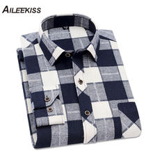 AILEEKISS Cotton 2019 New Spring Autumn Mens Shirt Casual Plaid Man Long Sleeve Soft Slim Fit Brand Male Clothes XT785