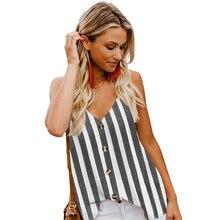 Tank tops women summer Button sleeveless womens tank plus sizes stripe blouse  V Neck shirts blusas mujer de moda 2019